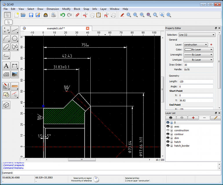 screenshot QCAD