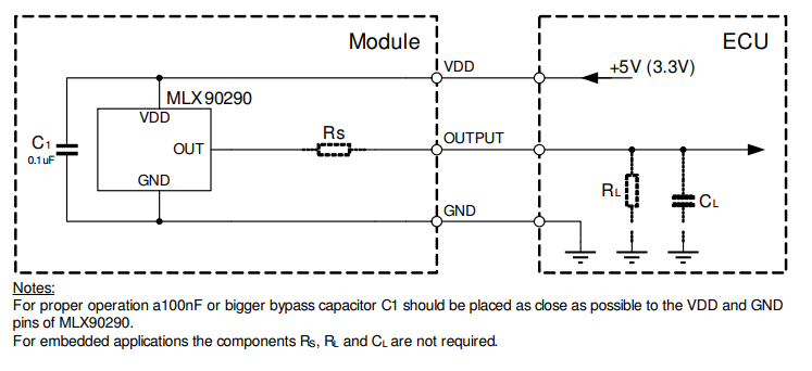 Tipical application Diagram MLX90290 Melexis hall sensor
