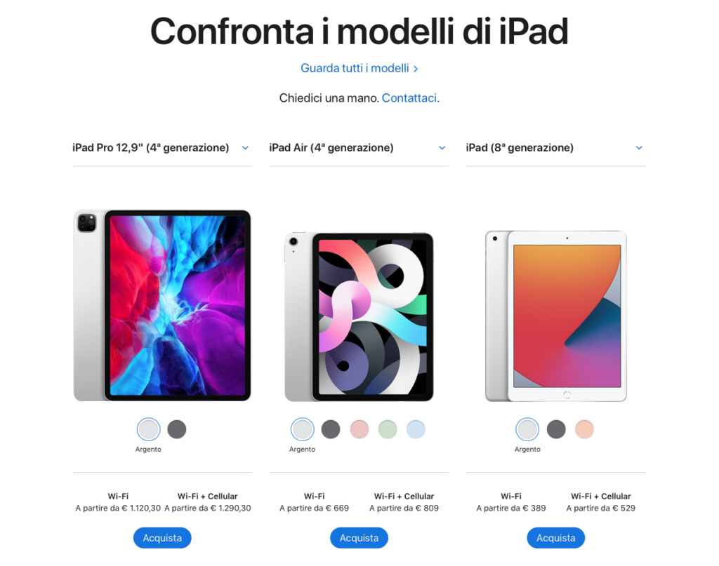 Confronto modelli Tablets iPad Apple